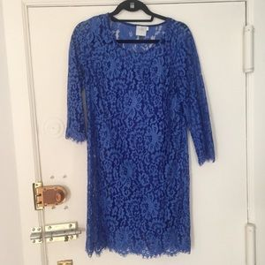 Anthropologie HD in Paris Blue Lace Dress